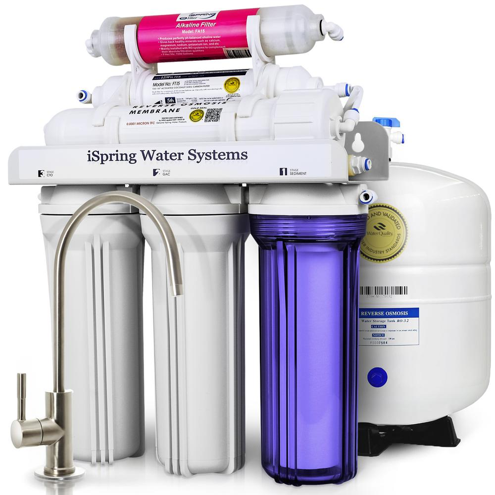 ISPRING WQA Gold Seal 6-Stage with Alkaline Re-M Filter 75GPD ...