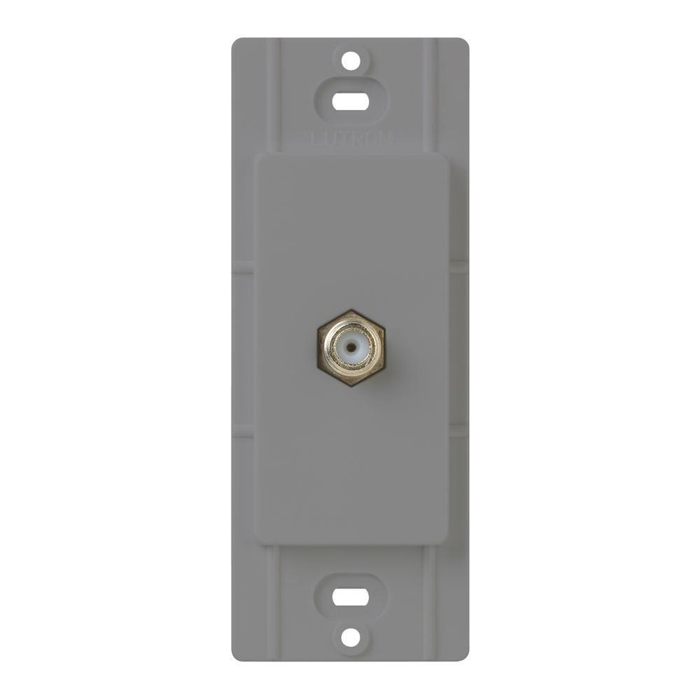 Lutron Claro Coaxial and DVI Cable Jack - Gray