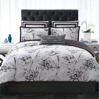Graphic Floral King Duvet with Pillow Shams