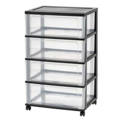 4-Drawer Plastic Wheeled Wide Chest in Black