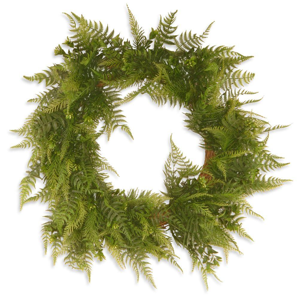 22 in. Garden Accents Boston Fern Wreath