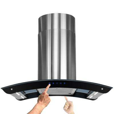 36 in. Convertible Kitchen Island Mount Range Hood in Stainless Steel with Tempered Glass, LEDs and Touch Controls