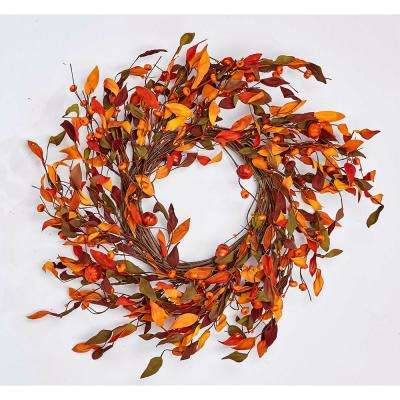 22 in. Lvs with Mini Pumpkin Wreath on Natural Twig Base