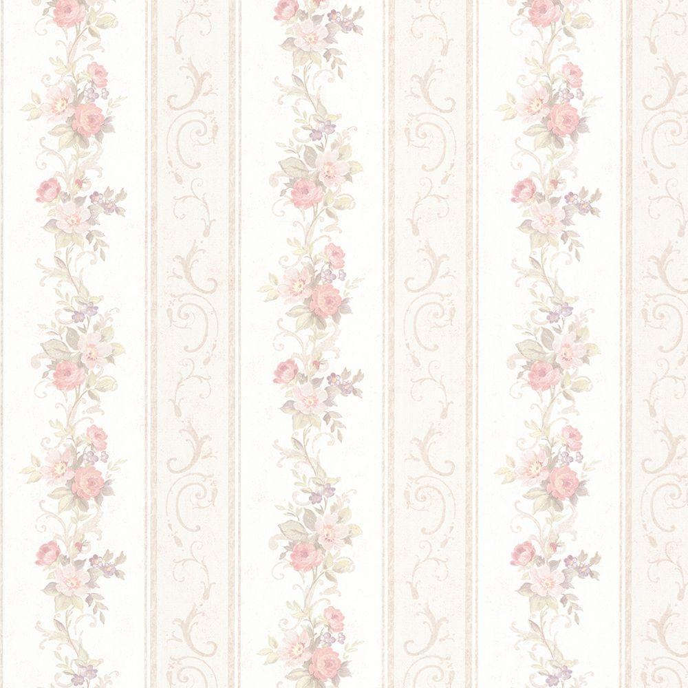 Lorelai Blush Floral Stripe Wallpaper
