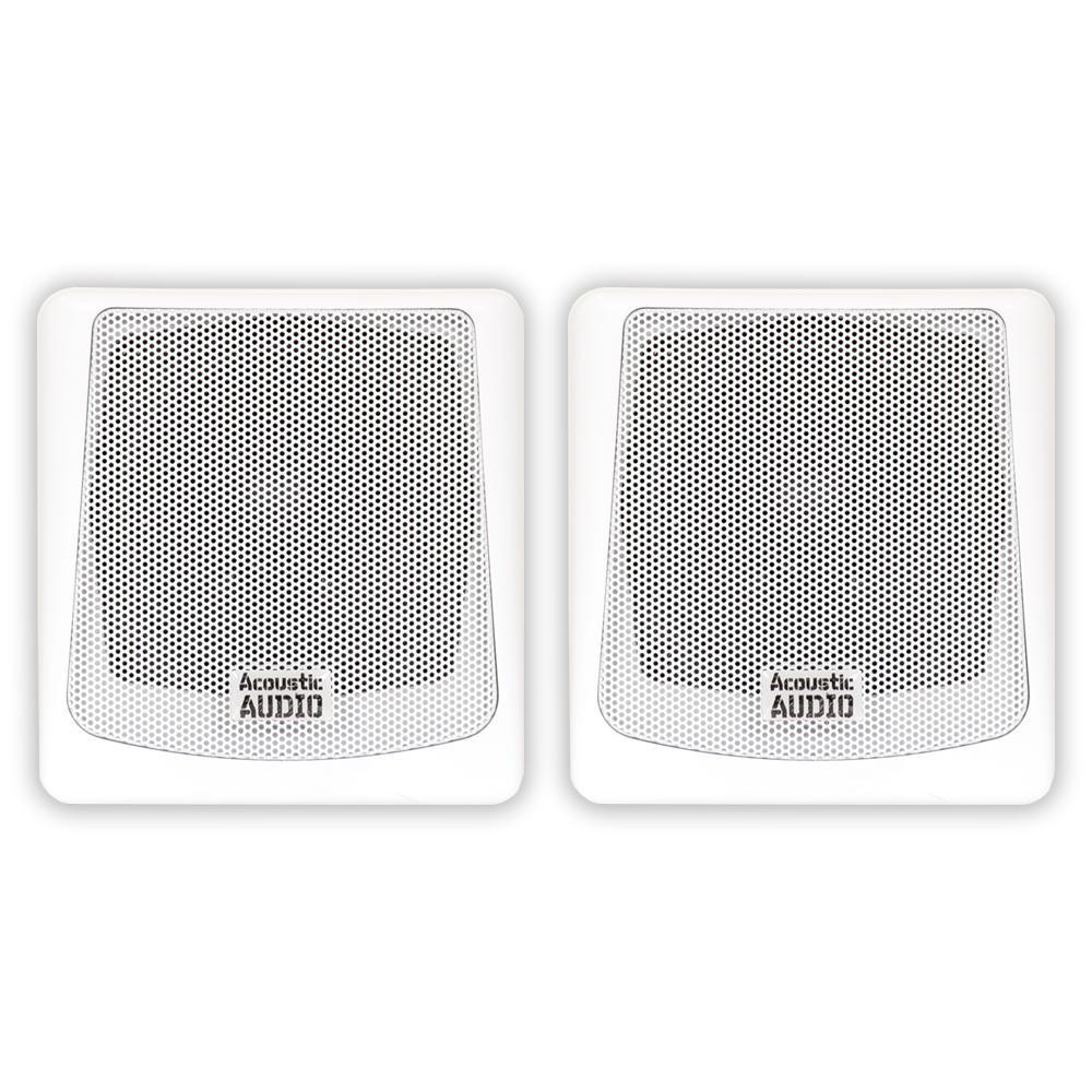 Mountable Indoor or Outdoor Passive Speakers White Bookshelf Pair