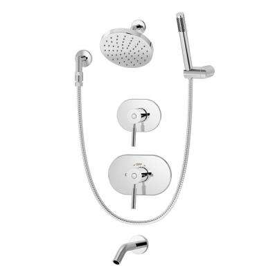 Sereno Pressure Balance 2-Handle 1-Spray Tub and Shower Faucet with Hand Shower in Chrome (Valve Included)