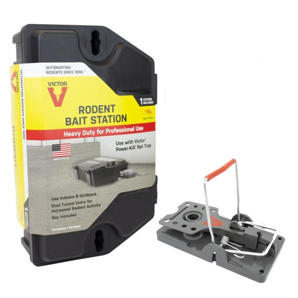 Rodent Bait Station with Power-Kill Rat Trap