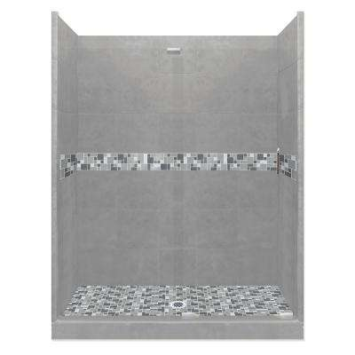 Newport Grand Slider 30 in. x 60 in. x 80 in. Center Drain Alcove Shower Kit in Wet Cement and Chrome Hardware