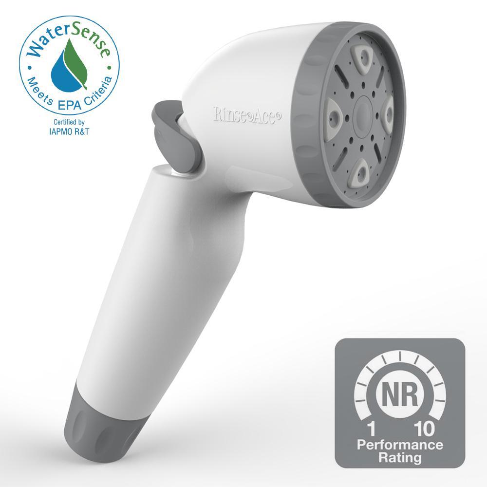 RINSE ACE Snap N Spray WaterSense 1.8 Detachable Showerhead in White