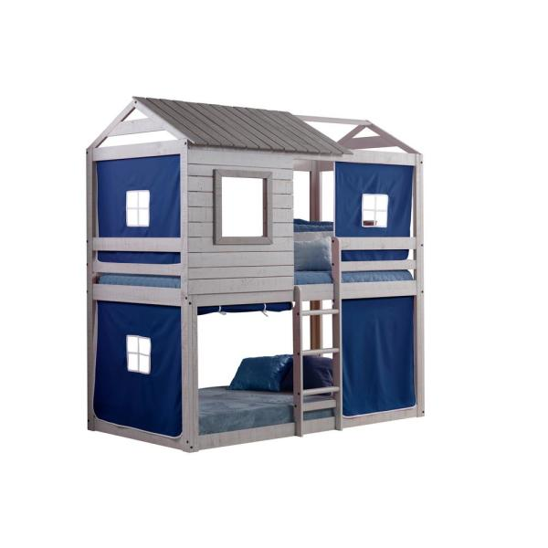 Donco Kids Deer Blind Blue Tent Twin Bunk Bed Loft 1370-TTLG_1370-DB