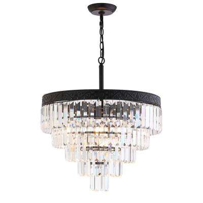 Wyatt 20 in. 4-Light Bronze/Clear Crystal Chandelier