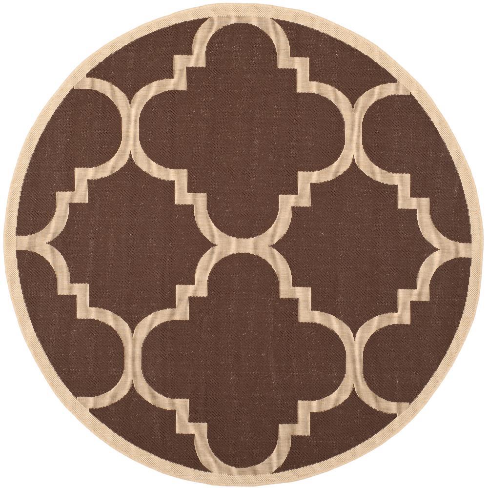 Courtyard Dark Brown 4 ft. x 4 ft. Indoor/Outdoor Round Area Rug