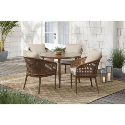 Coral Vista 5-Piece Brown Wicker and Steel Outdoor Patio Dining Set with CushionGuard Chalk White Cushions