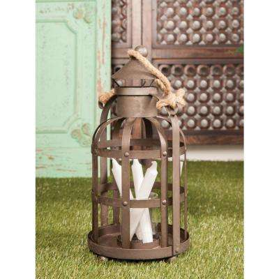 17 in. Black Cage Design Candle Lantern with Rope Handle