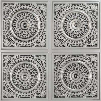 Grandma's Doilies Quartet 2 ft. x 2 ft. PVC Glue-up in Ceiling Tile in Antique Silver