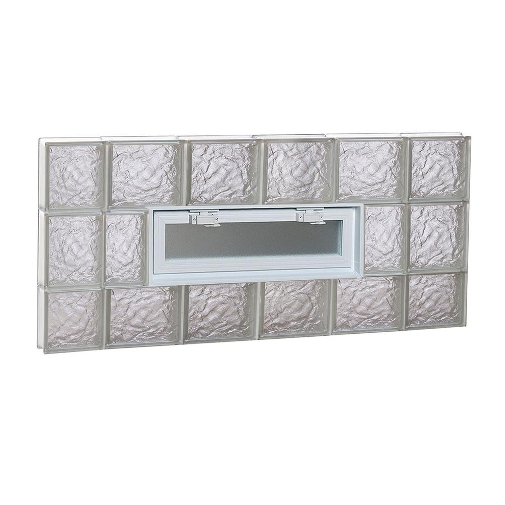 Clearly secure 42 5 in x in x in ice for Pre assembled glass block windows