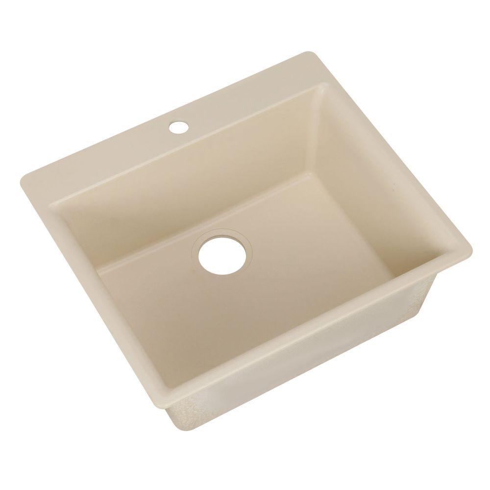 HOUZER Galaxy Series Drop-In Granite 23.625x20.875x8.688 0-hole Single Basin Kitchen Sink in Avorio