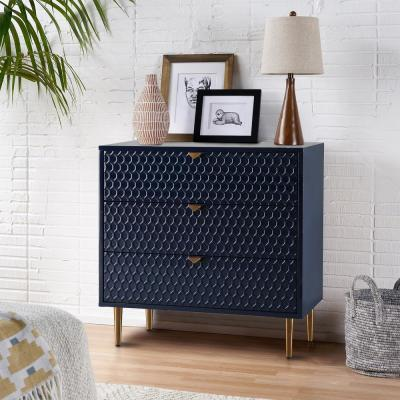 Blue Honeycomb pattern Fully-Assembled 3-Drawers Storage Accent Chest with Golden Stands