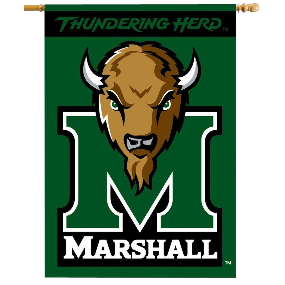 NCAA 28 in. x 40 in. Marshall 2-Sided Banner with Pole