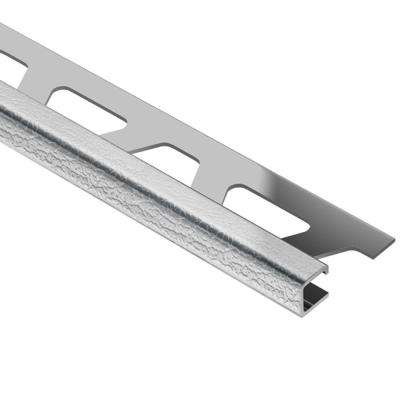 Quadec Leather Texture Stainless Steel 5/16 in. x 8 ft. 2-1/2 in. Metal Square Edge Tile Edging Trim