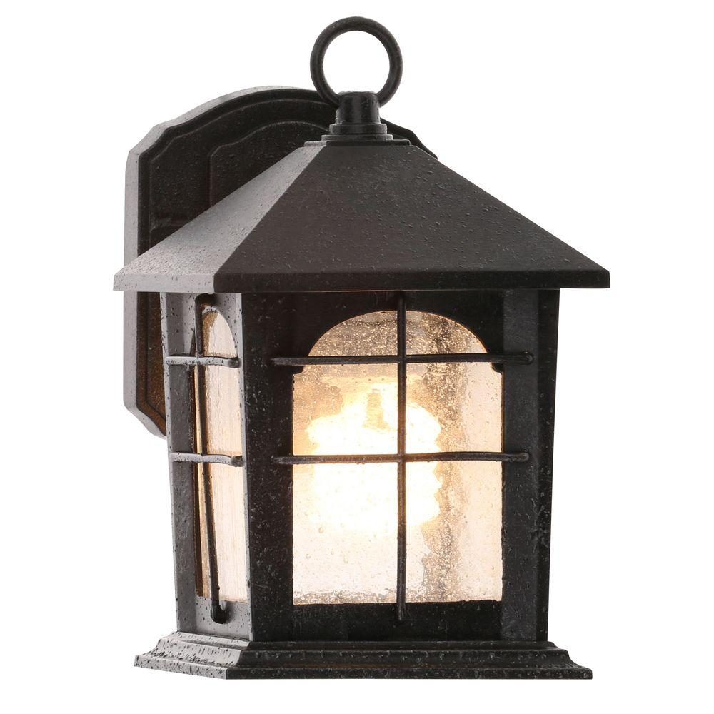 Brimfield 1-Light Aged Iron Outdoor Wall Lantern