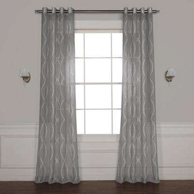 Grecian Grommet Printed Sheer Curtain in Grey - 50 in. W x 108 in. L