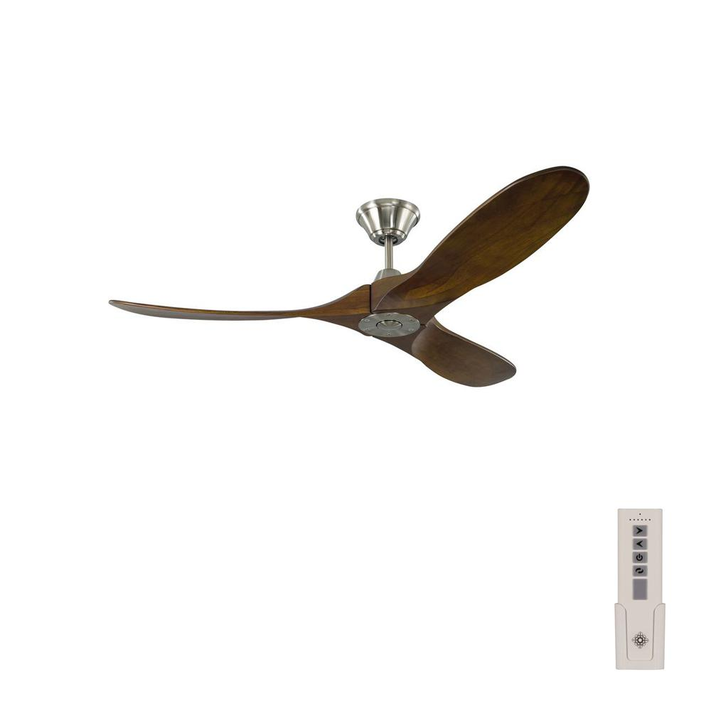 Monte Carlo Maverick II 52 in. Indoor/Outdoor Brushed Steel Ceiling Fan with Dark Walnut Blades and Remote Control