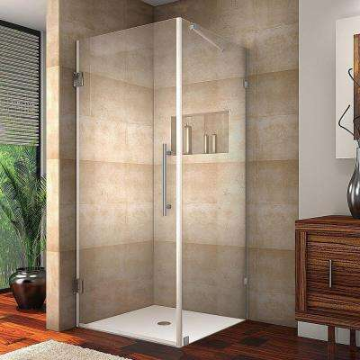 Aquadica 34 in. x 72 in. Frameless Square Shower Enclosure in Chrome with Clear Glass