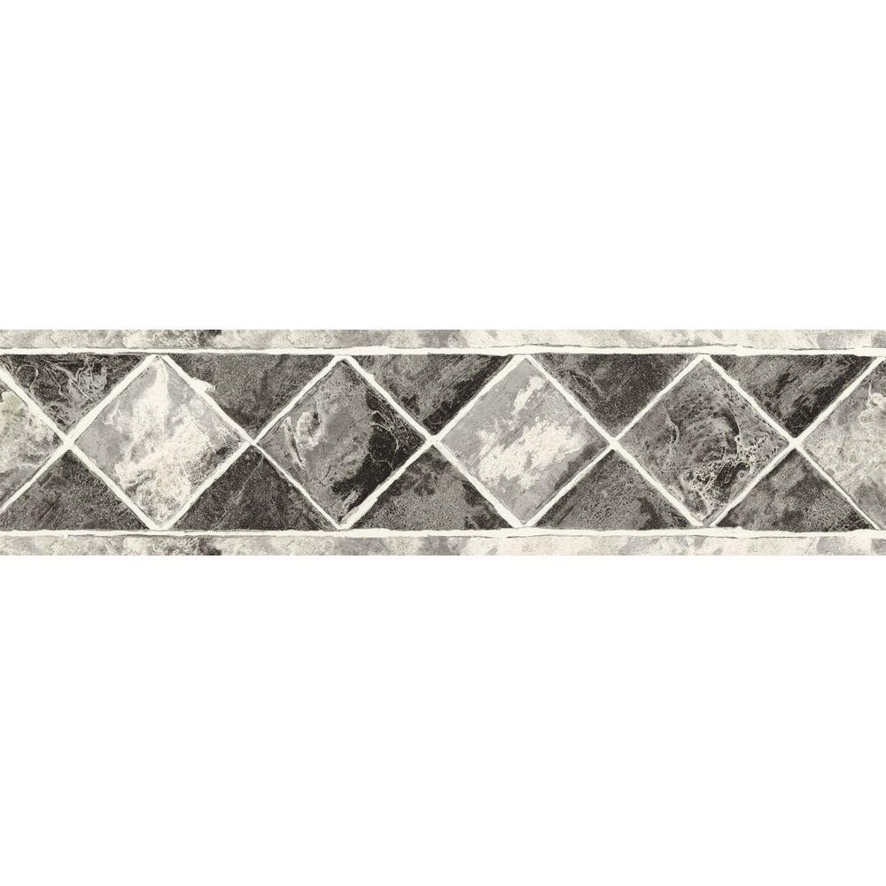 The Wallpaper Company 6.75 in. x 15 ft. Black and Silver Contemporary Tile Border