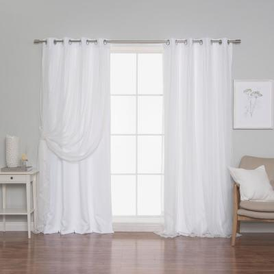 84 in. L White Marry Me Lace Overlay Room Darkening Curtain Panel (2-Pack)