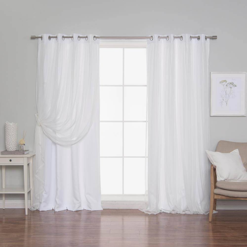 Best Home Fashion White 108 In L Marry Me Lace Overlay Room Darkening Curtain Panel