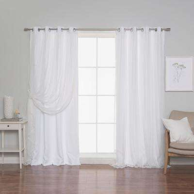 White 96 in. L Marry Me Lace Overlay Room Darkening Curtain Panel (2-Pack)