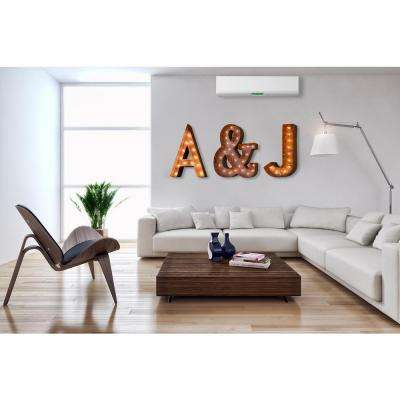 Modern American 24 in. H Rusted Steel Alphabet Letter A Plug-In Marquee Light