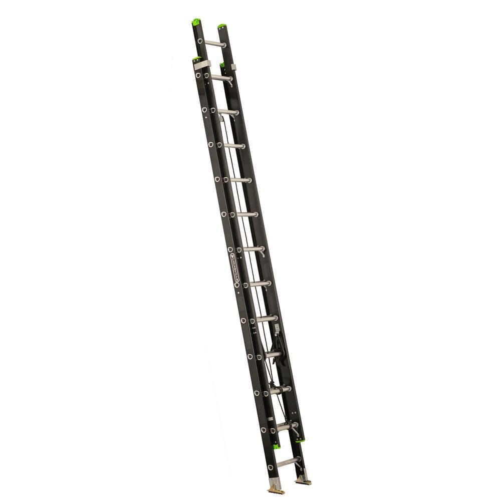 Louisville Ladder 24 ft. Lightweight Fiberglass Extension Ladder (23 ft. Reach) 300 lbs. Load Capacity, Type IA Duty Rating