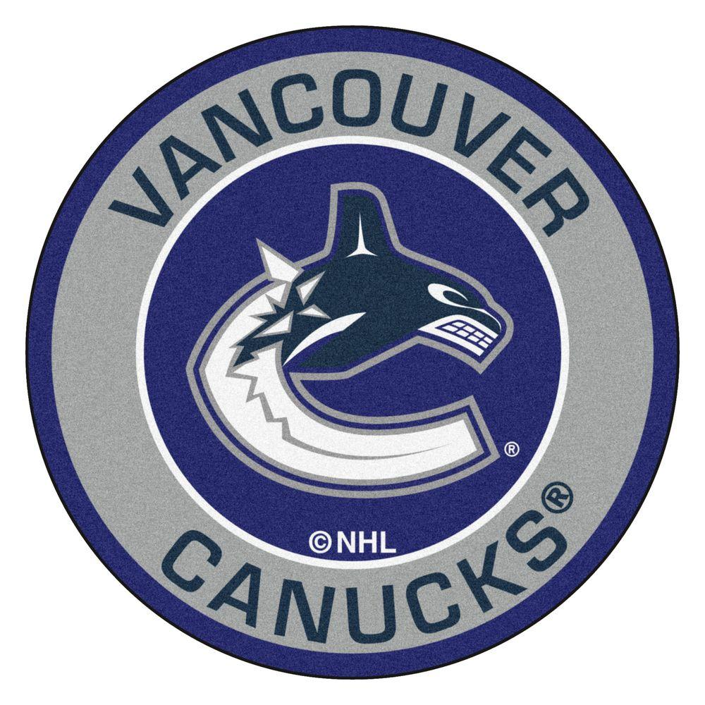 Fanmats Nhl Vancouver Canucks Gray 2 Ft X 2 Ft Round