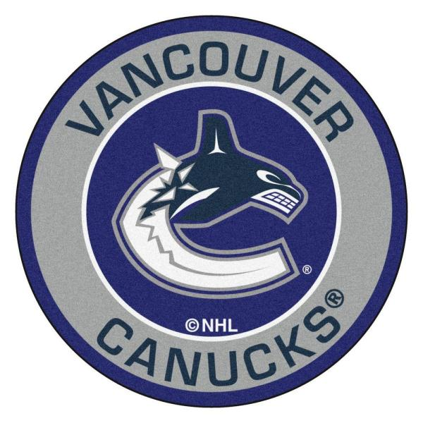 NHL Vancouver Canucks Gray 2 ft. x 2 ft. Round Area Rug