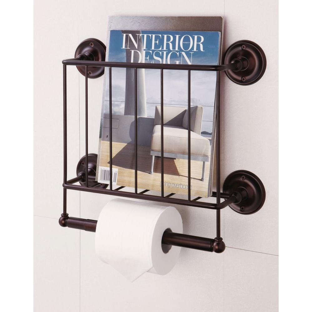 W Wall Mount Magazine Rack With Toilet Paper Holder In Bronze