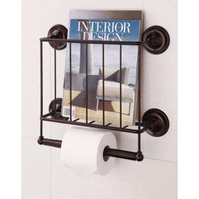 15.12 in. W Wall Mount Magazine Rack with Toilet Paper Holder in Bronze