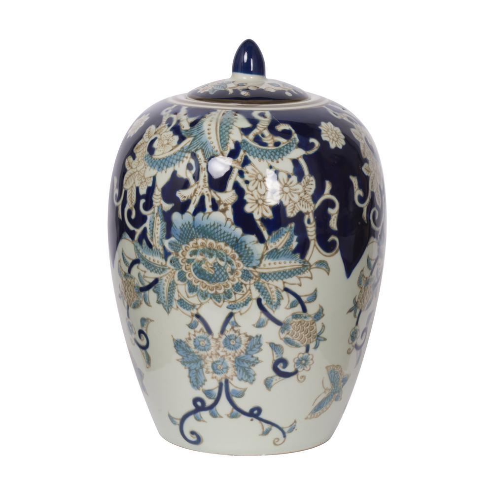 Bryn Blue, Gold, White Lidded Jar