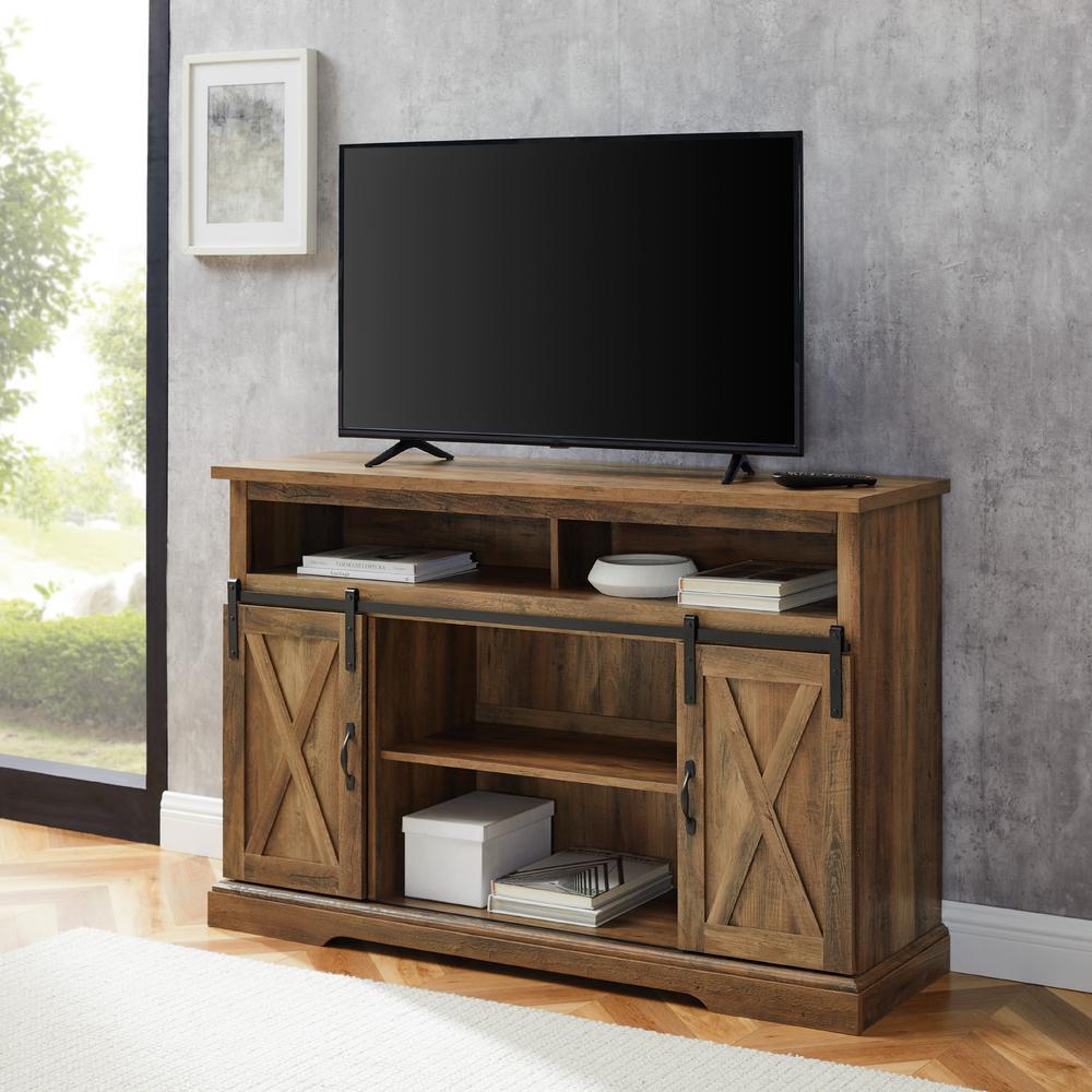 52 in. Rustic Oak Composite TV Stand 56 in. with Doors