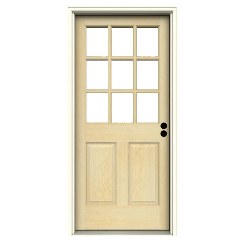 Jeld wen 30 in x 80 in 9 lite unfinished fir prehung for Jeld wen front entry doors