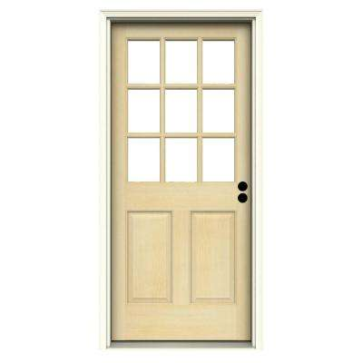 36 in. x 80 in. 9 Lite Unfinished Wood Prehung Left-Hand Inswing Front Door w/Primed Rot Resistant Jamb and Brickmould