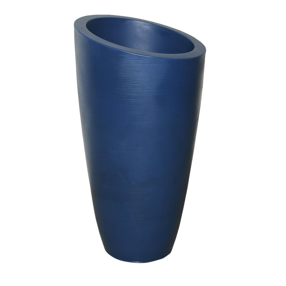 Modesto 42 in. Neptune Blue Plastic Planter