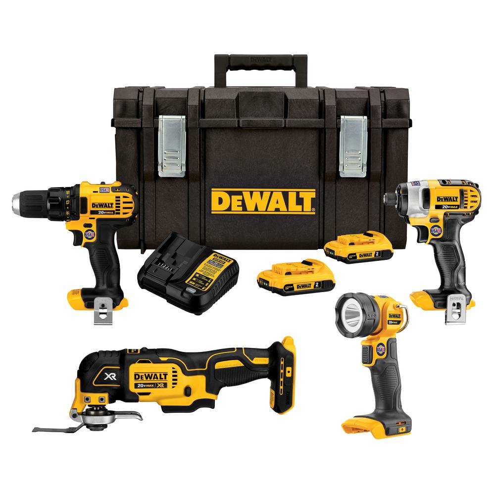 DEWALT 20-Volt MAX Lithium-Ion Cordless Combo Kit with Tough System Case (4-Tool) 2.0 Ah 2 Batteries and Charger