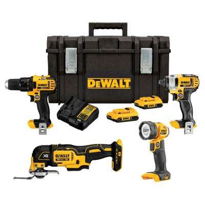 MAX 20-Volt Lithium-Ion Cordless Combo Kit with Tough System Case (4-Tool) 2.0 Ah 2 Batteries and Charger