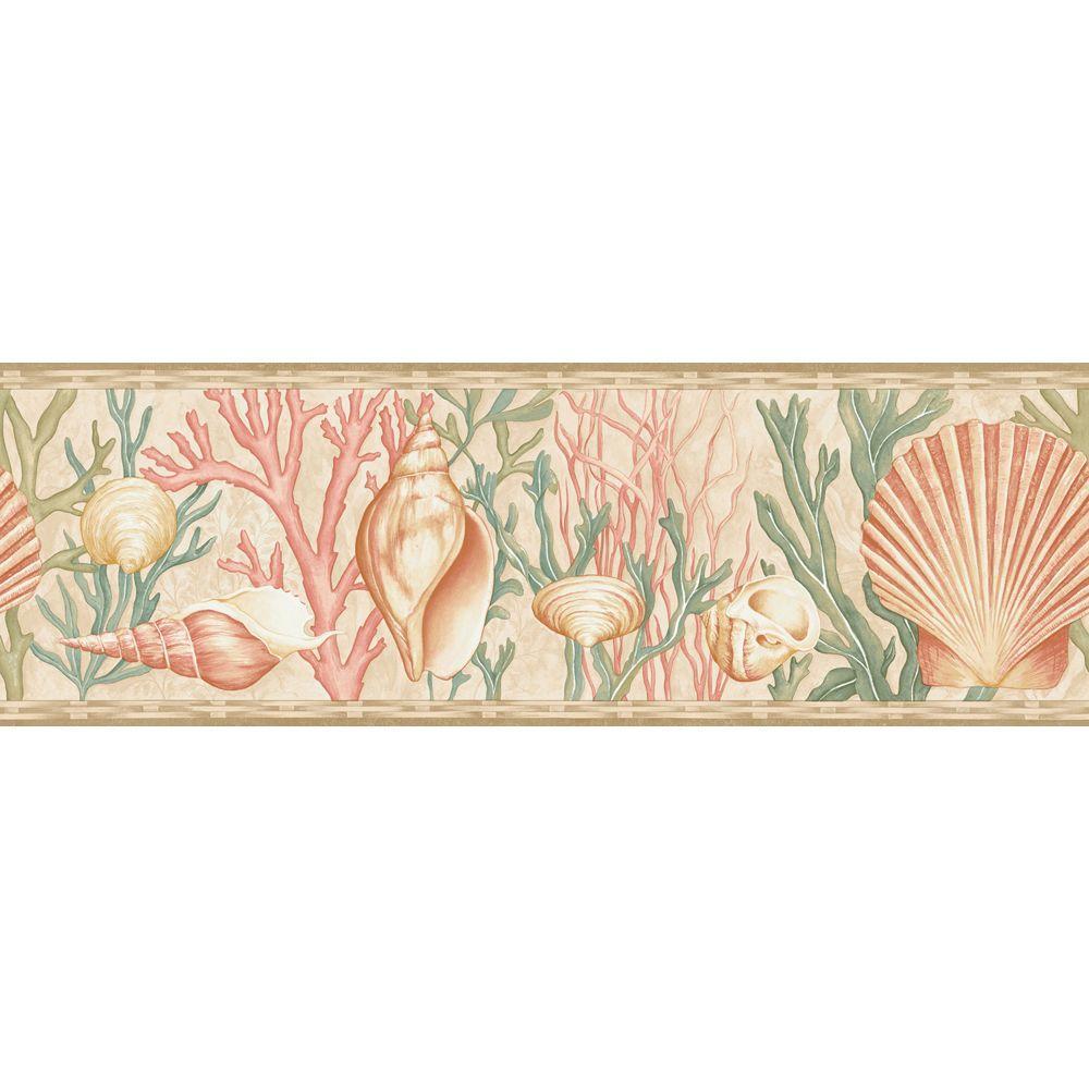 The Wallpaper Company 8 in. x 10 in. Multi Color Sea Shells Border Sample