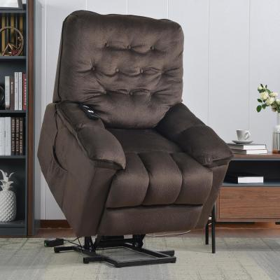 Brown Power Lift Recliner Chair with Remote and Soft Fabric