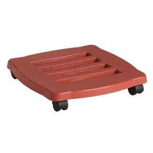 Caddy Square 15 in. Terra Cotta Plastic Plant Stand Caddy with Wheels
