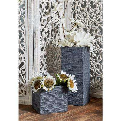 Black Fiber Clay Square Tower Planters (Set of 3)