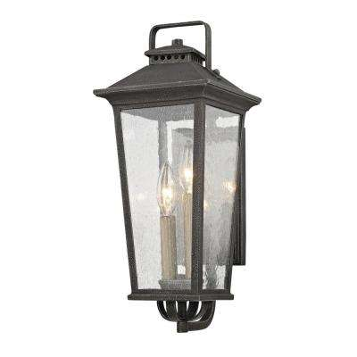 Parsons Field 2-Light Aged Pewter with Seeded Glass Outdoor Wall Mount Sconce